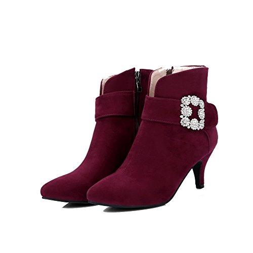 AgooLar Women's Zipper Kitten-Heels Xi Shi Velvet Solid Pointed-Toe Boots Claret RtG3uvgC