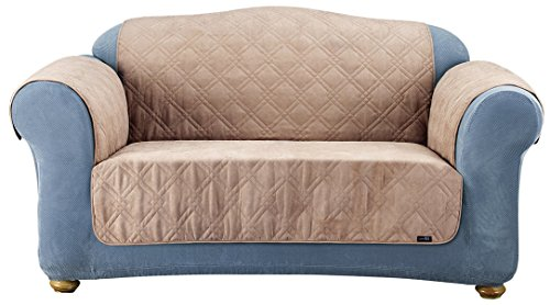 (Sure Fit SF37267 Quilted Loveseat Pet Throw/Slipcover, Taupe)
