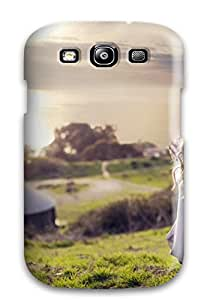 Hot Selling Snap-on Girl Whit Long Hair In A Beautiful Landscape Nature Grass Green Soft Light People Women Hard Cover Case/ Protective Case For Galaxy S3