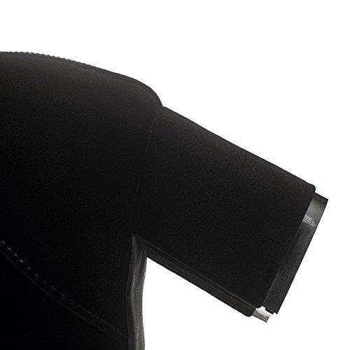 AllhqFashion Mujeres Tacón ancho Sólido Cremallera Posterior Botas con Hebilla Metal Negro