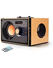$28 Get Portable Bluetooth Speakers Wireless Loudest Audio Rich Bass Outdoor Party Speaker Stereo Sound Retro Desktop Speakers with Subwoofer FM Radio MP3 Player Remote Control for iPhone PC Android Home TV