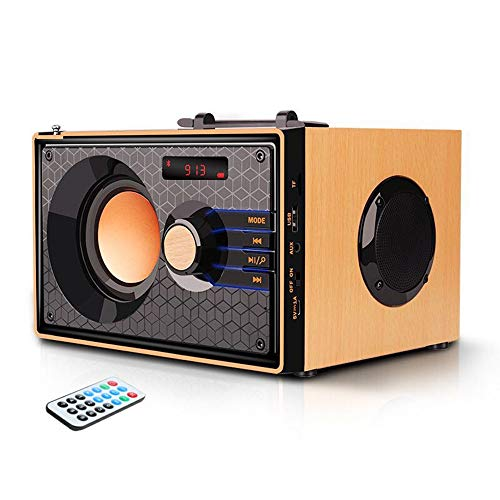 Portable Bluetooth Speakers Wireless Clear Audio Rich Bass Outdoor Party Speaker Stereo Sound Retro Desktop Speakers with Subwoofer FM Radio AUX MP3 Player Remote Control for Phone PC Android Home TV (Best Quality Speakers For Iphone)