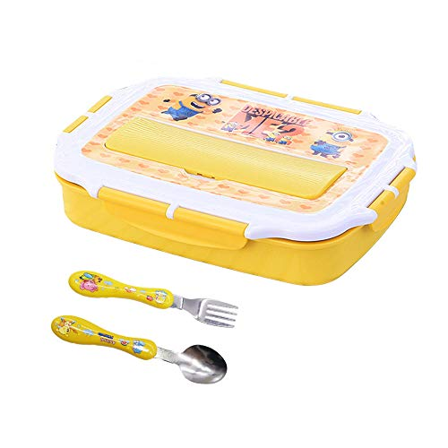 Kids Meal Bento Boxes 304 Stainless Steel,17.28 oz,1100ml,Minions Lunch Box Containers,Durable BPA Free Plastic Food Storage Containers - Stackable, Reusable, Microwaveable & Dishwasher Safe(Yellow)