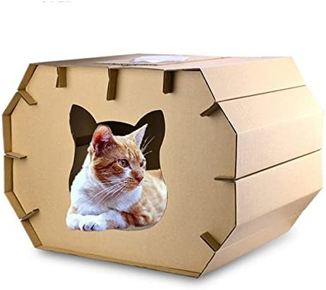 Pet Online Casa de gato uña de gato juguete de papel corrugado de protección del medio ambiente, casa 37 * 50 * 35 cm: Amazon.es: Productos para mascotas