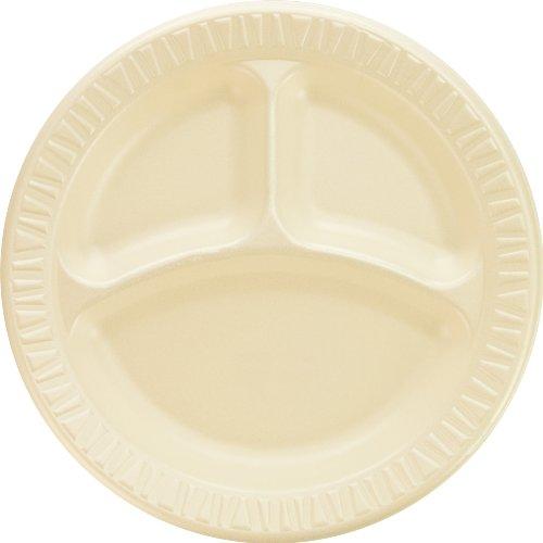 Dart 9CPHQR Quiet Classic Laminated Foam Plates, 9 Inches, Honey, 3 Compartments (Case of 500)