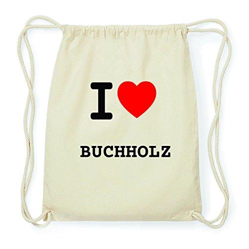 JOllify BUCHHOLZ Hipster Turnbeutel Tasche Rucksack aus Baumwolle - Farbe: natur Design: I love- Ich liebe