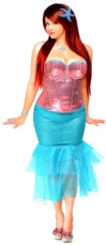 [Daisy Corsets Women's 2 Piece Sexy Siren Costume, Pink, X-Large] (Siren Costume Halloween)