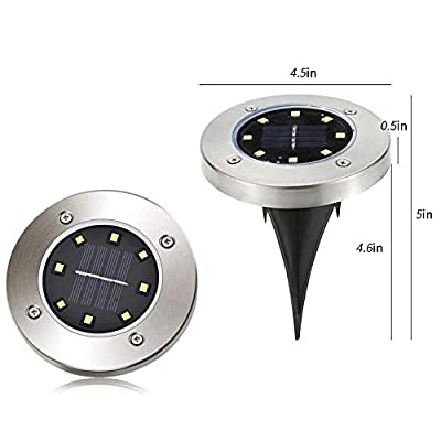 FYUFYU 12 Pack Solar Powered Ground Lights, 8LED Solar Pathway Lights Solar Powered Disk Garden Light Solar Lawn Lights, Outdoor Waterproof Solar Patio Landscape Lighting for Deck Yard Walkway-White