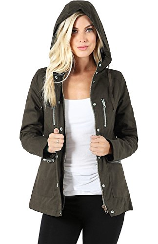 2LUV Women's Windbreaker Parka Jacket with Hoodie and Quilted Padded Lining Olive L(QJ-1788) Ladies Quilted Parka Jacket