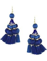 Kate Spade Pretty Poms Tassel Statement Earrings, Blue