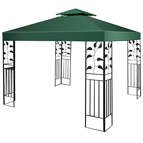 Tangkula 10'x10' Canopy Cover Outdoor Patio Gazebo Replacement Top Cover Wedding Party Event Tent Cover Heavy Duty Durable Waterproof Sun Snow Rain Shelter 1-Tier or 2-Tier 3 Color (2-Tier, DGN) (Gazebo Covers Replacement)