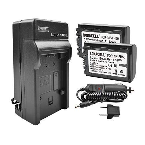 Bonacell NP-FH50 Battery(2 Pack) and Charger Kit Compatible with Sony Alpha DSLR A230, DSLR A290, DSLR A330, DSLR A380, DSLR A390, Cyber-Shot DSC-HX1, DSC-HX100V, DSC-HX200V, HDR-TG5V