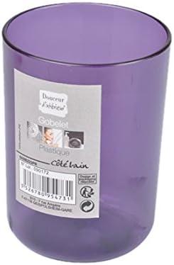 Douceur dInt/érieur 6ASB223NR Gobelet de Salle de Bain Plastique Translucide Noir 7 x 7 x 10 cm