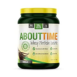 About time's high quality whey protein isolate keeps it simple and 100% all natural. Sweetened with stevia. Cold processed, micro filtered 100% whey protein isolate. 25 grams of protein per serving.