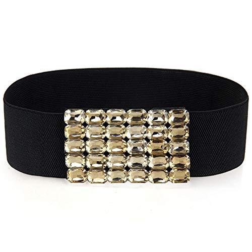 Retro casual ladies waist bandwidth stretch body hand-studded rhinestone simple ladies girdle63-85cm black