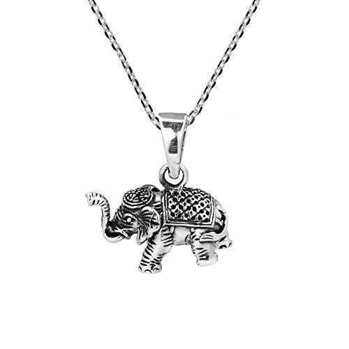 Siamese Elephant - AeraVida Royal Siamese Elephant 3D .925 Sterling Silver Necklace