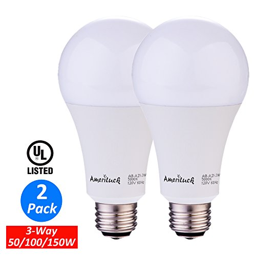 AmeriLuck 3-Way A21 LED Bulb Low-Medium-High 50/100/150W Equivalent 7/14/20W 800/1500/2200lumens Soft White 2700K Omni-Directional, 2 Pack (Light Led 100)