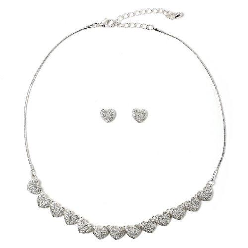 Topwholesalejewel Silver Crystal Rhinestone Heart Shape Stud Earrings & Heart Line Necklace Jewelry Set
