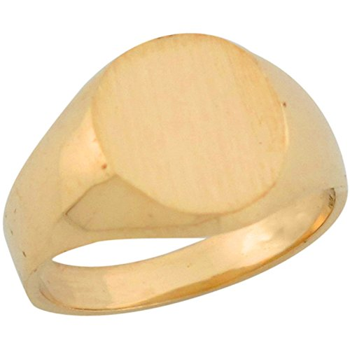 10k Yellow Gold Round Fancy Contemporary Signet Baby Ring by Jewelry Liquidation