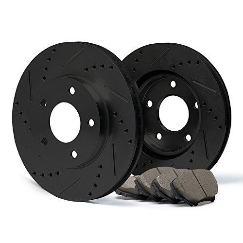 (Front) [ELITE SERIES] Black Anti-Rust Slotted & Drilled Rotors and Ceramic Pads Brake Kit CP001481 | Fits: 1997 97 1998 98 1999 99 2000 00 2001 01 Honda CR-V -