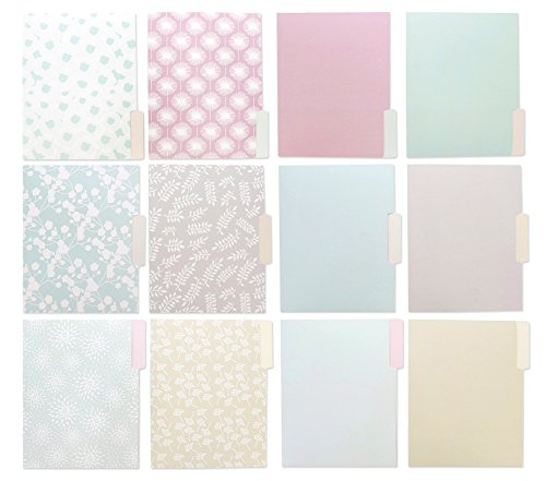 12 Count File Folders Set - Decorative Filing Folders - 6 Pastel Floral Foliage and Solid Color Designs, Letter Size 1/3 Cut 1/2 Inch Top Memory Tab, Classification Filing Organizers - 11.5 x 9 Inches