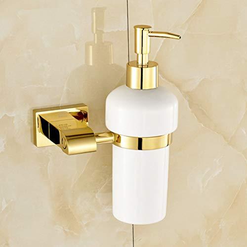 GOPG Wall Mounted Soap Dispenser, Copper Pump Ceramic Bottle Refillable Liquid Soap Dispenser for Bathroom Kitchen Dish Soap Dispenser-Gold