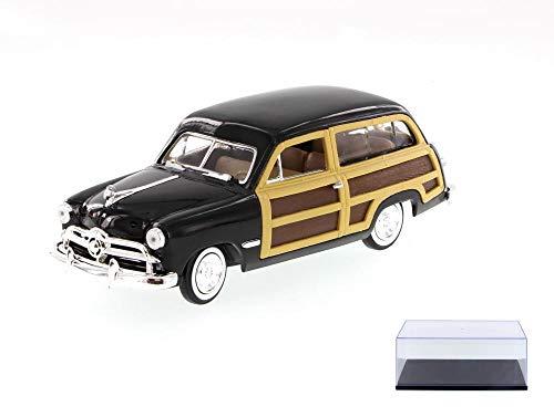 Diecast Car & Display Case Package - 1949 Ford Woody Wagon, Black - Showcasts 73260 - 1/24 Scale Diecast Model Toy Car w/Display Case -  Motor Max, 73260-SHO-BLACK-9906BK-BDL