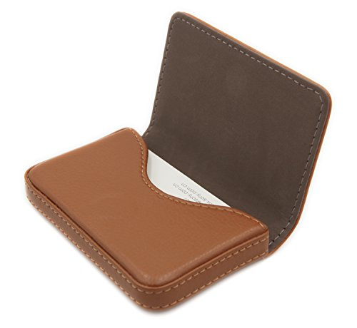 RFID Blocking Wallet - Minimalist Leather Business Credit Card Holder with Magnetic - Light Coffee