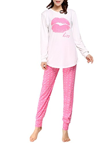 2502ae9330 Ventelan Women Pajama Set Comfy Long Sleeve Sleepwear Sweet Kisses  Loungewear