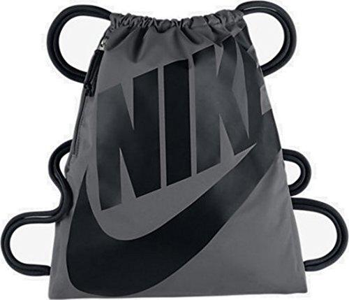 NIKE Heritage Drawstring Gymsack Backpack 400 Denier Sport Bookbag (Wolf Grey Signature Black Swoosh) by NIKE