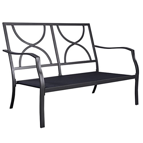 GHP 4Pcs Steel Frame Cushioned Patio Furniture Set w 300lbs Weight Capacity