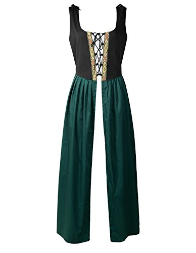 (ReminisceBoutique Renaissance Medieval Pirate Peasant Costume Two-Toned Irish Over Dress Fitted Bodice (XL,)