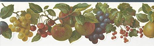 Wallpaper Border Berries Grapes Plums Apples Pears Cherries Die Cut Blue (Cornerstone Cherry)
