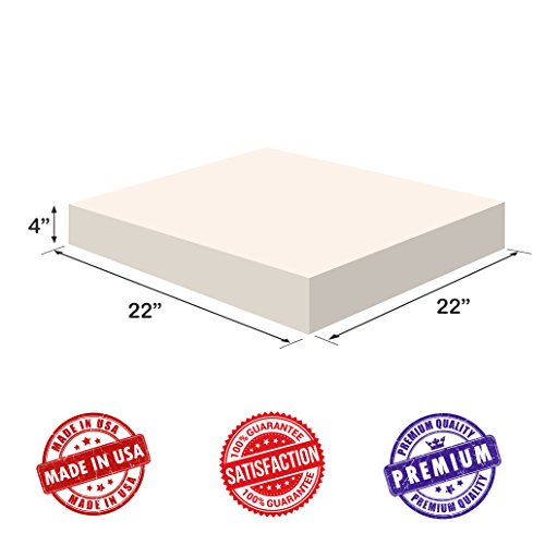 Upholstery Foam-Square Cushion Sheet- Firm Soft-Premium Luxury Quality-Good for Chair Cushions-Sofa Cushions-Wheelchairs-Poker Tables and much more, Dream Solutions USA(4x22x22, High Density) (Cushions Sofa Replacement For Foam)