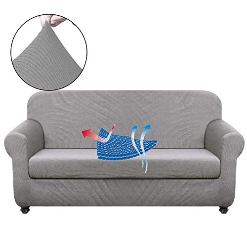 Chelzen Stretch Sofa Covers Living Room 2-Piece Couch Covers Striped Furniture Protectors Spandex Fabric Dog Sofa Slipcovers (Sofa, Light Gray)