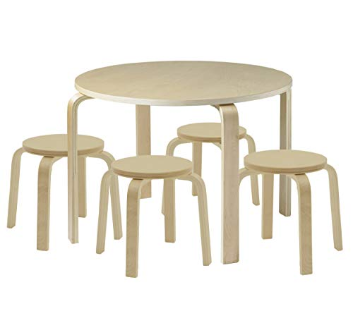 Desk Childrens Furniture Kids Tables (ECR4Kids Bentwood Table and Stool Set for Kids, Natural (5-Piece Set))