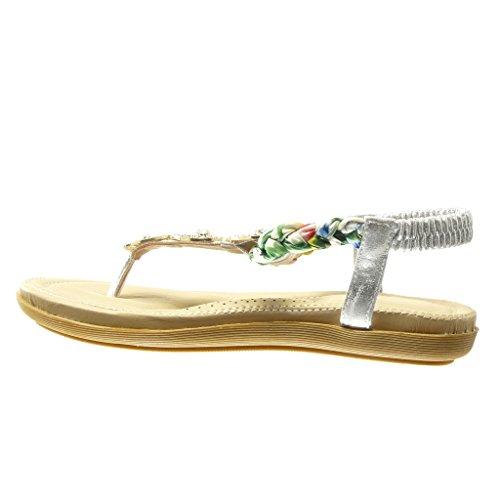 Angkorly - Scarpe da Moda sandali infradito cinturino donna gioielli intrecciato Tacco tacco piatto 2 CM - Argento