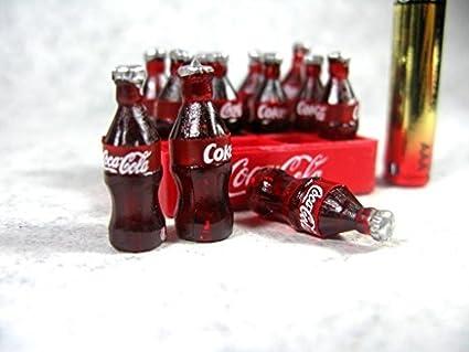 12pcs Mini Coke Drinks Dollhouse Miniature Coca Cola With Coke Tray Set 12/'/' Fig