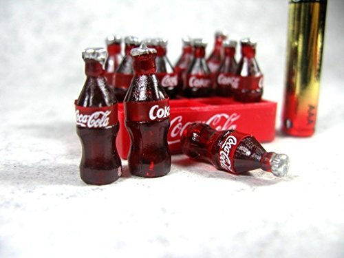 Cola Miniature Bottles Coca (12 Coca Cola Bottles with Tray Doll house Miniature Food, Soft Drink,soda Collectibles)