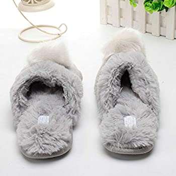 Women Winter Warm Slippers Soft Cute Ball Slip-on Shoes Cotton Plush Flats for Indoor Home