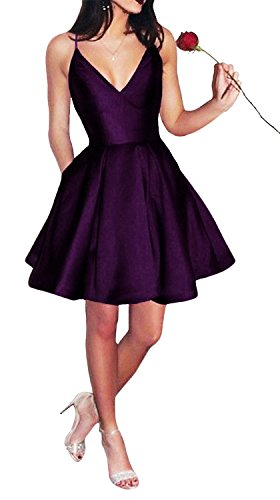 Yangprom Short Spaghetti Straps V-neck A-line Homecoming Dress with Pockets Plum 4 A-line Spaghetti Straps Mini