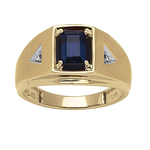 Men's Emerald-Cut Lab Created Blue Sapphire and White Diamond Accent 10k Gold ()