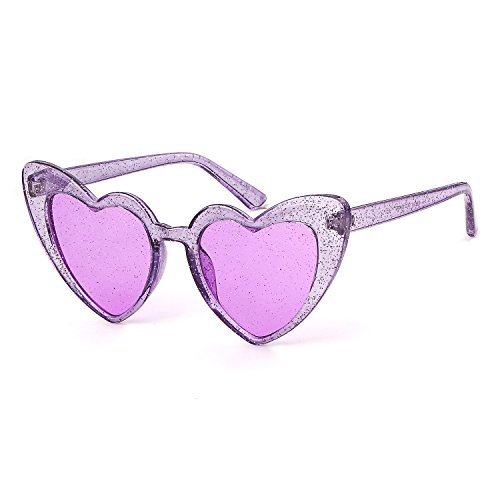 Clout Goggle Heart Sunglasses Vintage Cat Eye Mod Style Retro Kurt Cobain Glasses (Purple Glitter)]()