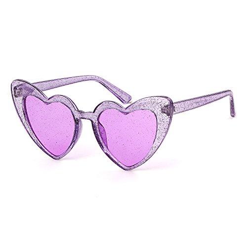 Clout Goggle Heart Sunglasses Vintage Cat Eye Mod Style Retro Kurt Cobain Glasses (Purple Glitter)