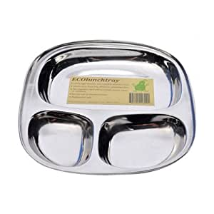 ECOlunchbox Stainless Steel Divided Tray, Large, Silver