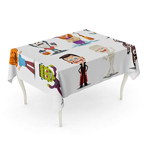 Tarolo Rectangle Tablecloth 60 x 84 Inch Halloween Kids Costumes Pumpkin Vampire Werewolf Zombie Witch Broom Mummy and Skeleton Cartoon of Cute Boy Girl Characters Table -