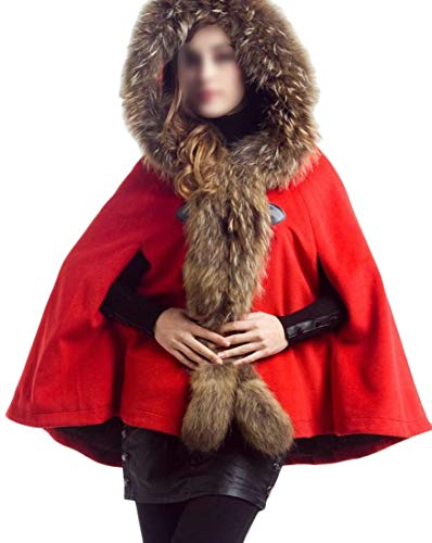2240a3b33a9e5 Amazon.com  Lutratocro Women Cape Poncho Premium Woolen Thicken Faux Fur  Hooded Trench Overcoat  Clothing