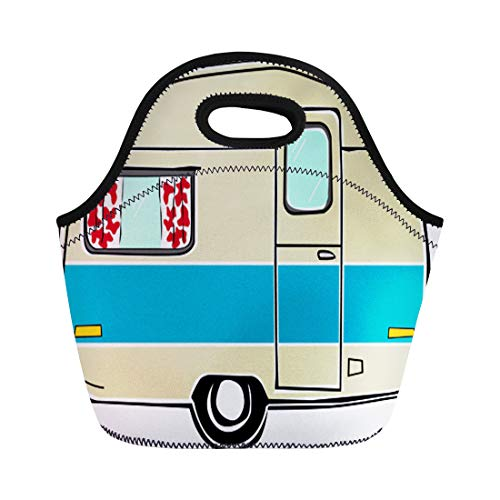 Semtomn Lunch Tote Bag Blue Retro Happy Hippie Vintage for sale  Delivered anywhere in USA