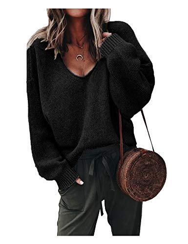ZHENWEI Womens Deep V Neck Sweater Slouchy Long Sleeve Outsweater Tops Plus Size