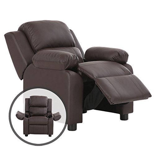 Recliner Headrest (Costzon Kids Recliner Sofa, Deluxe Padded Armchair Headrest with Storage Arms (Brown))